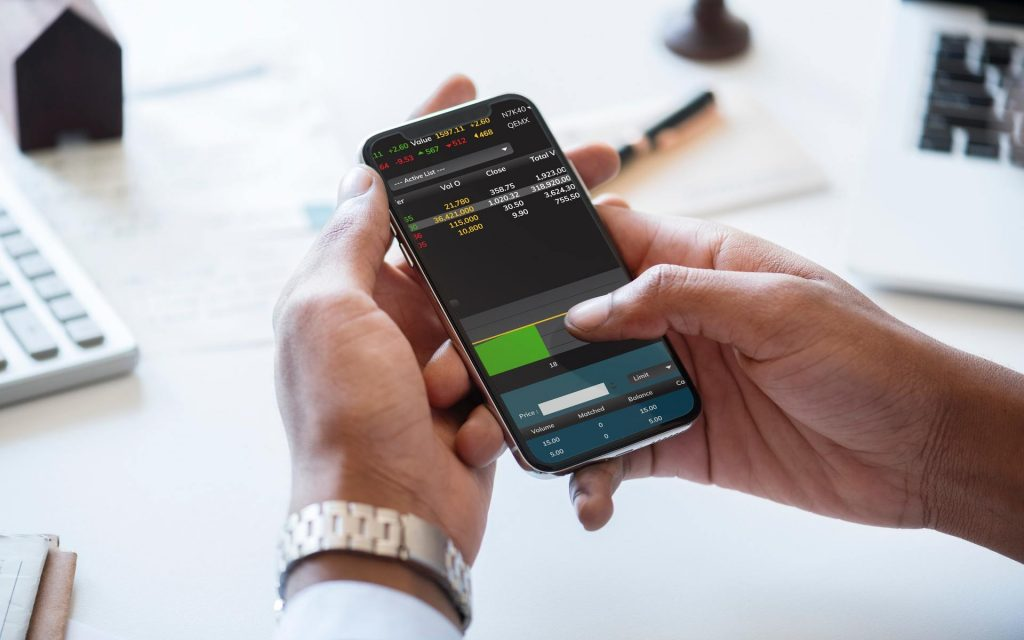 using mobile phone to check stock price