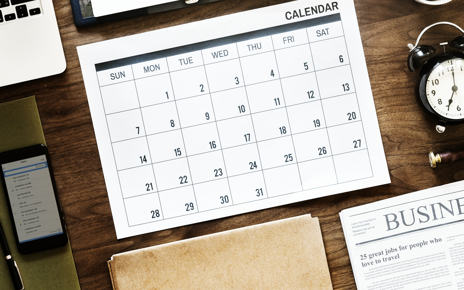 calendar and other business items on a desk
