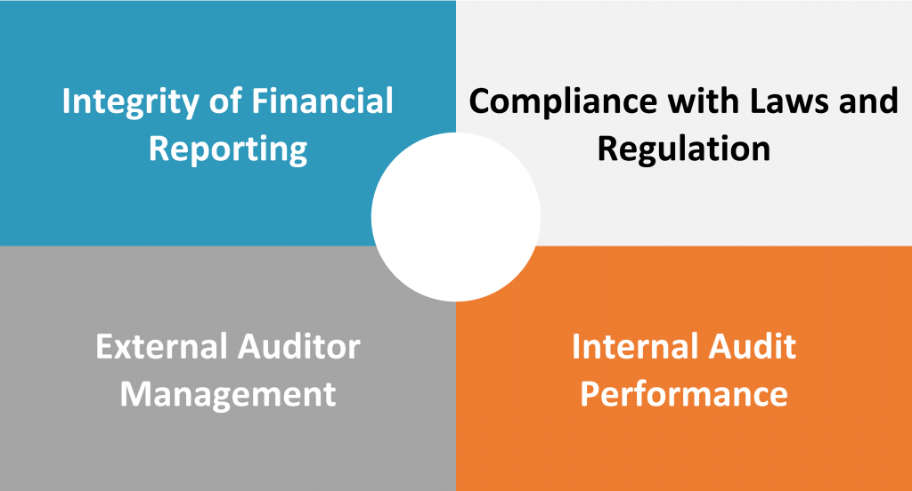 The NYSE requires an audit committee to assist the board in overseeing the following four key areas.